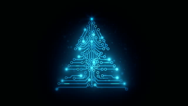 circuit board christmas tree - public celebratory event stock videos & royalty-free footage