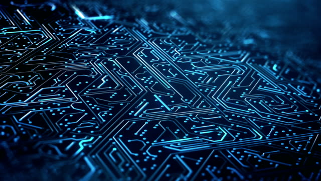 vídeos de stock e filmes b-roll de circuit board pattern close up (blue) - loop - animation moving image