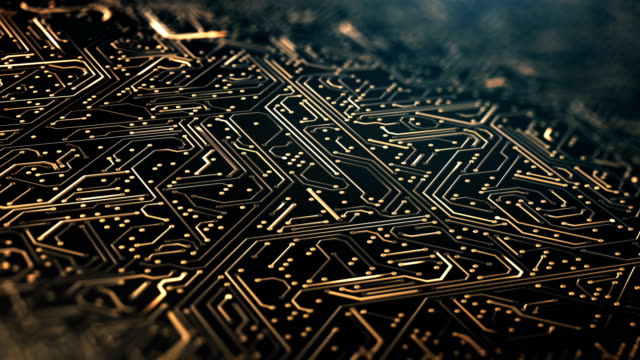 circuit board pattern close up (gold) - loop - circuit board stock videos & royalty-free footage