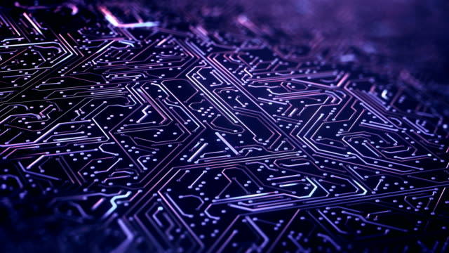 circuit board pattern close up (purple) - loop - circuit board stock videos & royalty-free footage