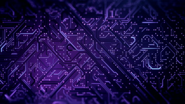 circuit board pattern (purple) - loop - circuit board stock videos & royalty-free footage