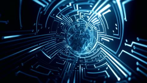 circuit board tunnel (blue) - loop - exchanging stock videos & royalty-free footage