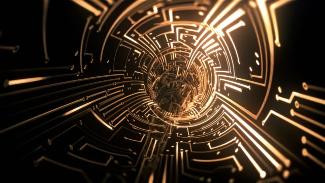 circuit board tunnel (gold) - loop - electronics stock videos & royalty-free footage