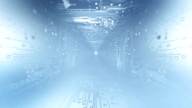 circuit board tunnel (light blue) - loop - light blue stock videos & royalty-free footage