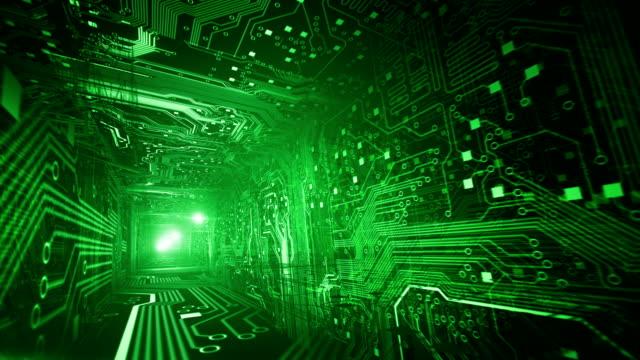 vídeos de stock e filmes b-roll de placa de circuito de túnel (verde, a proporção dourada)-loop - proporção áurea
