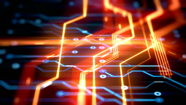 circuit board with  data flow loopable 4k animation background - fuel and power generation stock videos & royalty-free footage