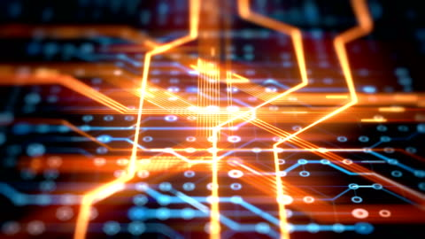 circuit board with  data flow loopable 4k animation background - striped stock videos & royalty-free footage