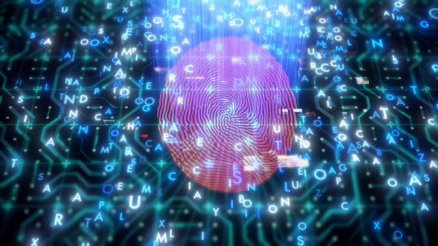 circuit board with fingerprint scanner - digital animation stock videos & royalty-free footage