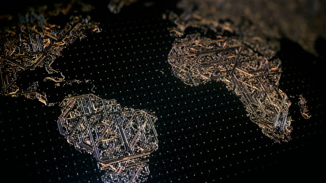 circuit board world map (gold) - loop - circuit board stock videos & royalty-free footage