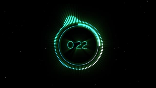 circular audio spectrum count down with particles on black background - conto alla rovescia video stock e b–roll