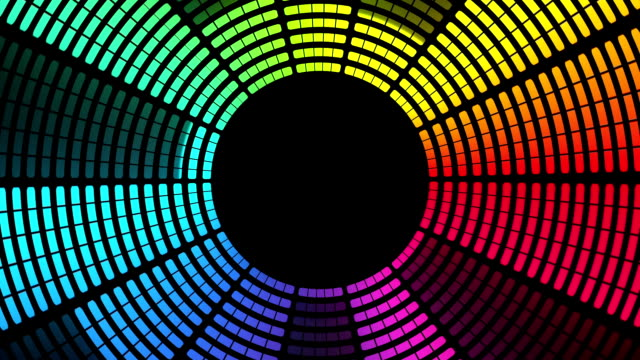 Circular Graphic Equalizer: Multi-Coloured, Loopable Background