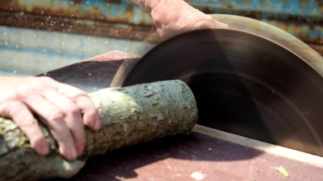 vídeos de stock, filmes e b-roll de serra de mesa circular corte da madeira em hd - câmera lenta - serra elétrica