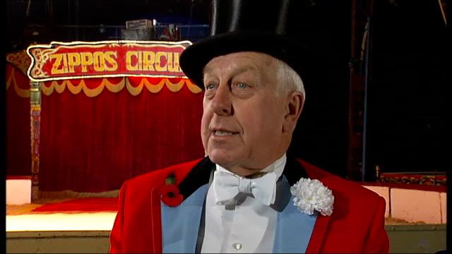 circus ringmaster norman barrett; norman barrett interview sot - ringmaster stock videos & royalty-free footage