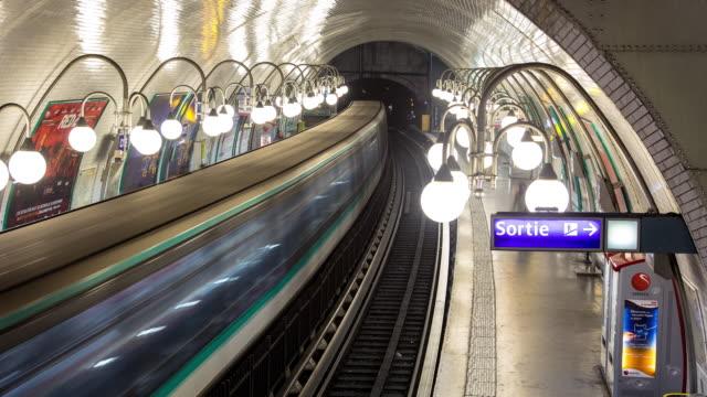 cité metro station, paris - motion timelapse - subway station stock videos & royalty-free footage