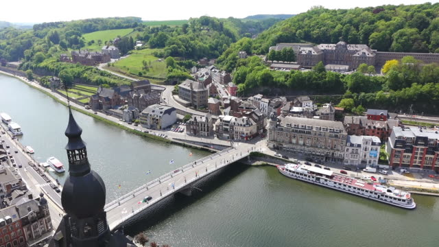 WS HA Citadelle of Dinant to church Notre Dame and river Meuse / Dinant, Wallonia, Belgium