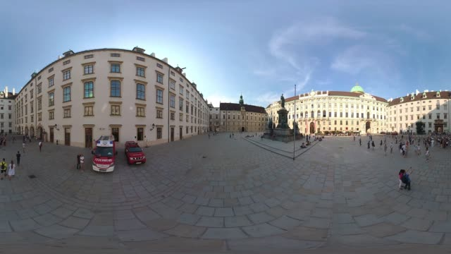 360vr cities 4k video tourists in inner city of vienna - monoscopic image stock videos & royalty-free footage