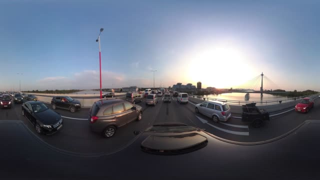 360VR cities 4K video traffic jam on urban motorway