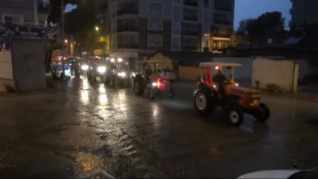 Citizens stage a rally with 40 tractors to protest the Fetullah Terrorist Organization's July 15 coup attempt and to show solidarity with the Turkish...