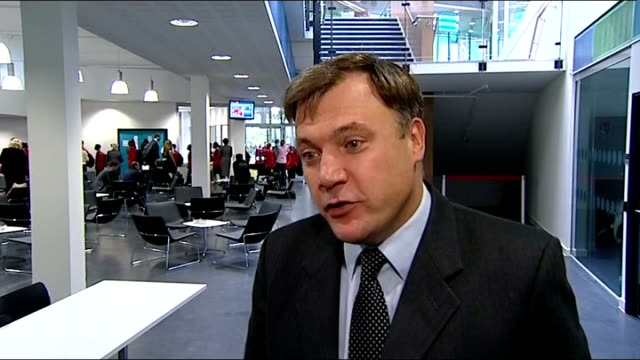 city academy, hackney, opened by gordon brown and ed balls; ed balls mp interview sot - talks of new schools opening / talks of reasons for removing... - education building stock videos & royalty-free footage