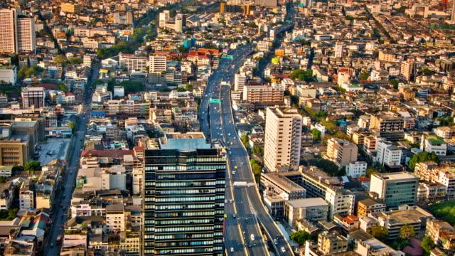 City aerial close up