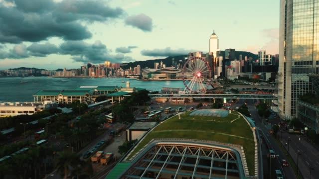 city aerial of hong kong, skyscraper in downtown hong kong - hong kong stock videos & royalty-free footage