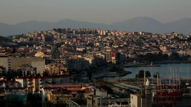 city and mountains, kusadasi, turkey - aydın province stock videos and b-roll footage