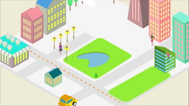 city and people emerging from a square block - tecknad film bildbanksvideor och videomaterial från bakom kulisserna