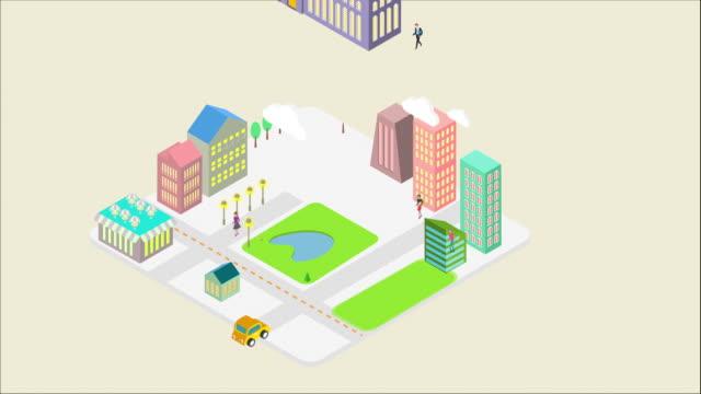 vídeos de stock e filmes b-roll de city and people emerging from a square block - design plano