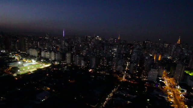 AERIAL City at sunset, buildings and streets / Sao Paulo, Brazil