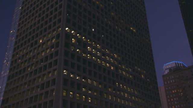 City building at night, low angle