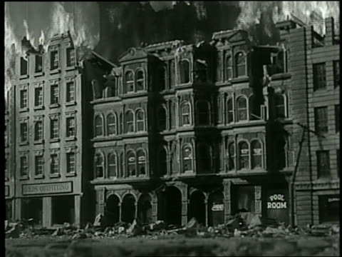 b/w reenactment city buildings on fire, then exploding / san francisco - historical reenactment stock videos and b-roll footage