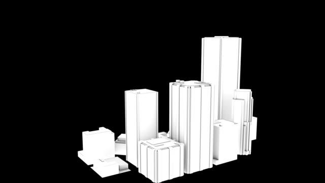 3 d city gebäude wolkenkratzer schwarz und weiß render - modell stock-videos und b-roll-filmmaterial