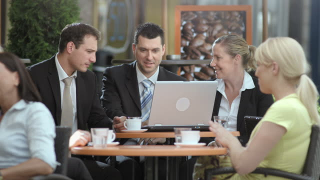 HD: City Business Executives Working Outdoors