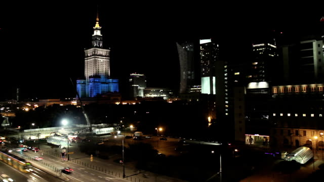 city by night time lapse - warsaw stock videos and b-roll footage