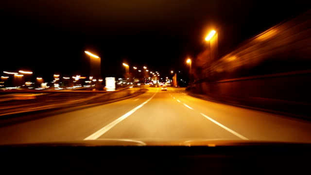 City C​ar drive at night timelapse