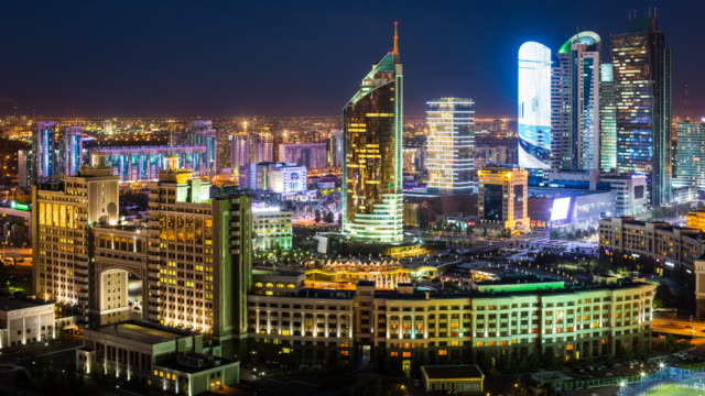 city center and central business district, colourfully illuminated at night
