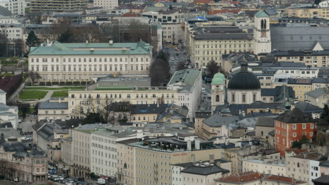 city center and mirabell palace, salzburg, austria - campo totale video stock e b–roll
