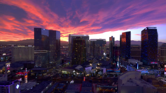 T/L WA HA ZI City Center at dusk / Las vegas