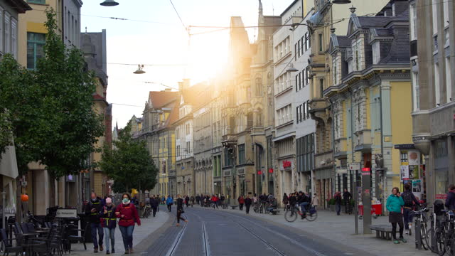 city center in erfurt, time lapse - thuringia stock videos & royalty-free footage
