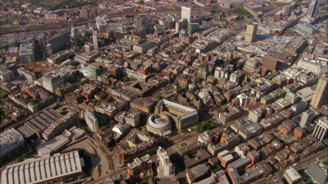aerial, city center, manchester, england - manchester england stock videos and b-roll footage