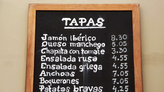 city center of barcelona: tapas menu in the streets - menu stock videos & royalty-free footage