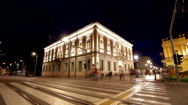 city center of belgrade-night - hungarian culture stock videos & royalty-free footage