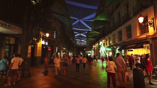 City center of Madrid at night