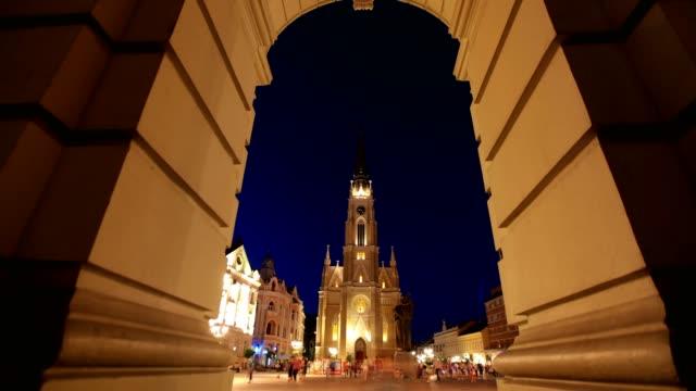 city center of novi sad(night) - eastern european culture stock videos & royalty-free footage