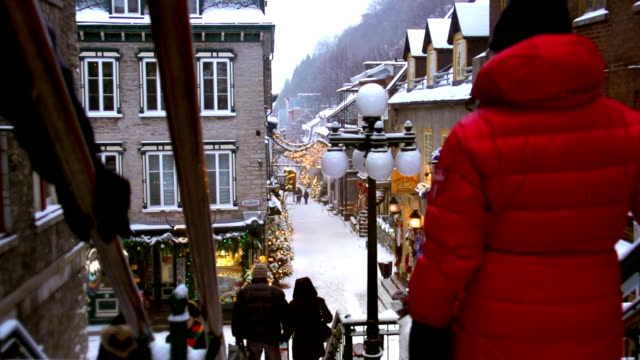 city christmas shopping - quebec stock videos and b-roll footage