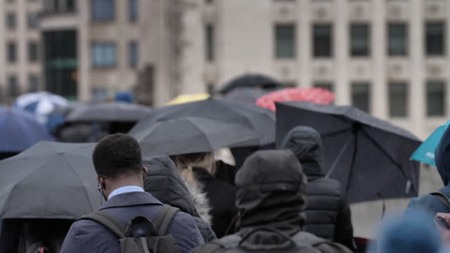 city commuters with umbrellas in the rain. - incidental people stock videos & royalty-free footage