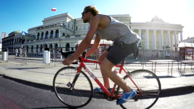 city cycling. - warsaw stock videos & royalty-free footage