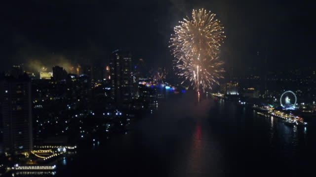 city fireworks for happy new year party - firework explosive material stock videos & royalty-free footage