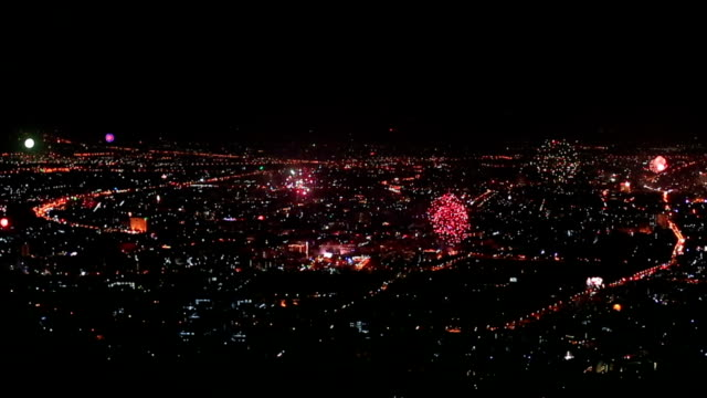 city fireworks in chiang mai, thailand - mack2happy stock videos and b-roll footage