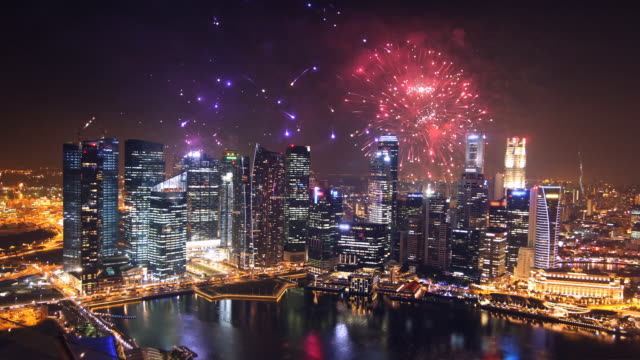 city fireworks - chinese new year stock videos & royalty-free footage